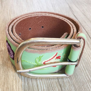 Linea Pelle Embroidered Green Leather Belt